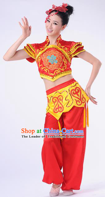 Traditional Chinese Classical Dance Yangge Fan Dancing Costume, Folk Dance Drum Dance Yangko Red Costume Complete Set For Women