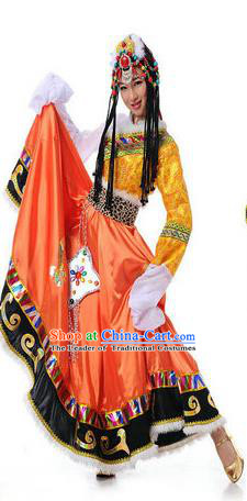 Traditional Chinese Mongol Nationality Dancing Water Sleeve Costume, Mongols Female Folk Dance Ethnic Pleated Skirt, Chinese Mongolian Minority Nationality Embroidery Costume for Women