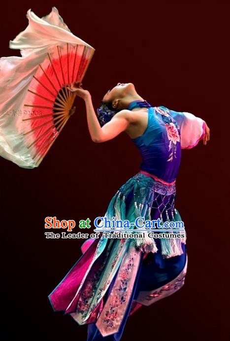Traditional Chinese Ancient Water-Sleeve Yangge Fan Dance Dress, Folk Dance Yangko Costume For Women