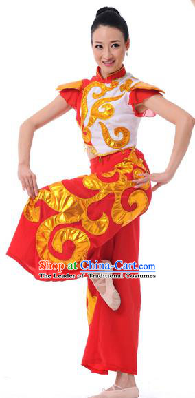 Traditional Chinese Classical Dance Yangge Fan Dancing Costume, Folk Dance Drum Dance Uniform Yangko Costume Complete Set for Women