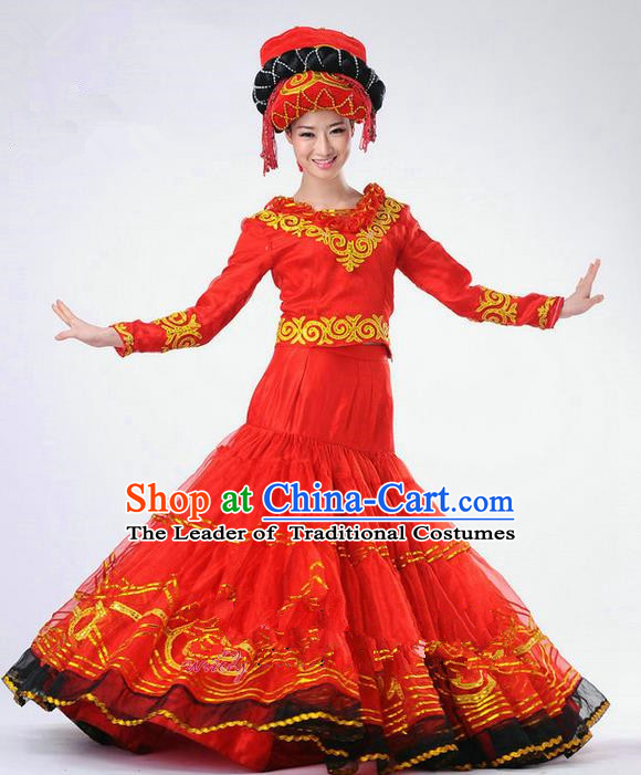 Traditional Chinese Yi Nationality Dancing Costume, Yi Zu Female Folk Dance Ethnic Red Pleated Skirt, Chinese Yi Minority Nationality Embroidery Costume for Women