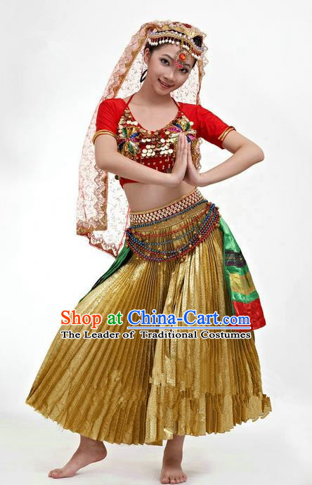 Traditional Indian Classical Dance Belly Dance Costume Costume, India Belly Dance Uniform Clothing Complete Set for Men