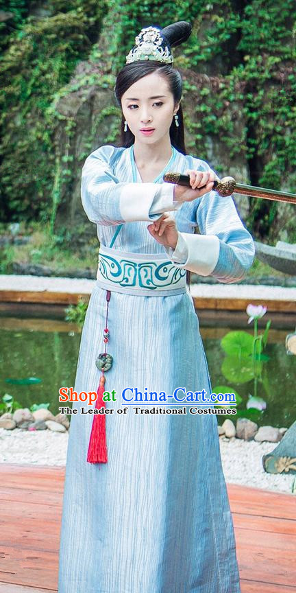 Traditional Chinese Ancient Swordswoman Dress Costume, Chinese Northern and Southern Dynasties Television Tokgo World Heroine Hanfu Clothing and Headpiece Complete Set for Women