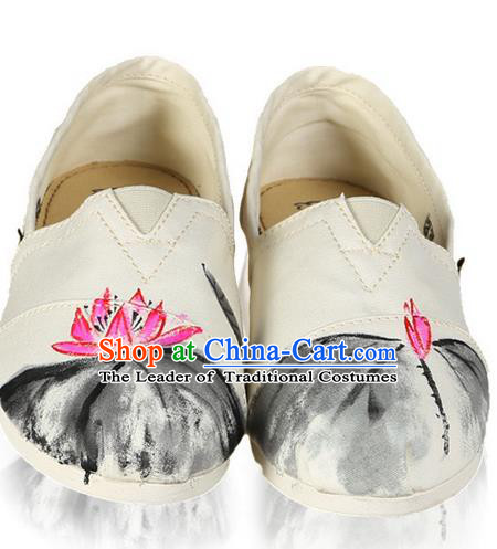 Top Grade Kung Fu Martial Arts Shoes Pulian Shoes, Chinese Traditional Tai Chi Linen Ink Painting Pink Lotus Shoes Cloth Zen Shoes for Women