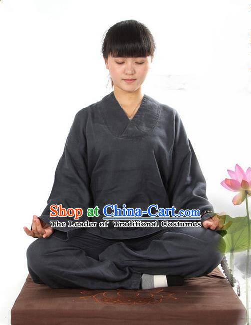 Top Grade Kung Fu Costume Martial Arts Linen Meditation Suits Pulian Zen Clothing, Training Costume Tai Ji Deep Grey Uniforms Gongfu Shaolin Wushu Tai Chi Clothing for Women