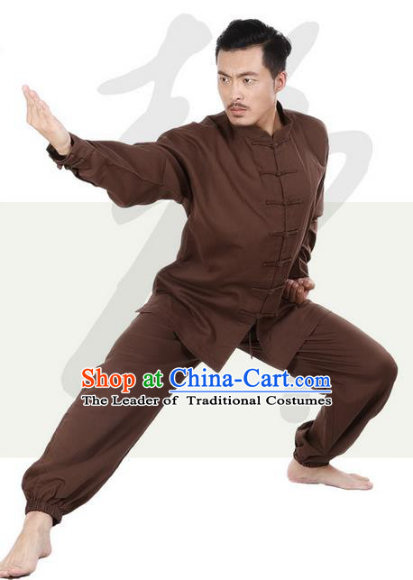 Top Grade Kung Fu Costume Martial Arts Coffee Linen Suits Pulian Zen Clothing, Training Costume Tai Ji Meditation Uniforms Gongfu Wushu Tai Chi Plated Buttons Clothing for Men