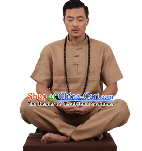 Traditional Chinese Kung Fu Costume Martial Arts Linen Plated Buttons Khaki Suits Pulian Meditation Clothing, China Tang Suit Uniforms Tai Chi Clothing for Men