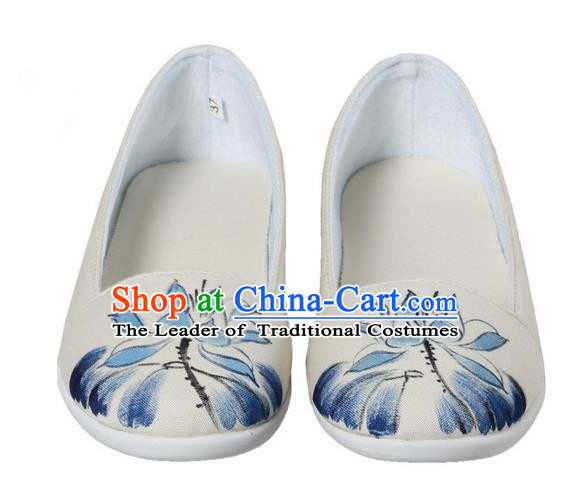 Top Chinese Traditional Tai Chi Hand Painting Lotus Linen Shoes Kung Fu Pulian Shoes Martial Arts Beige Shoes for Women