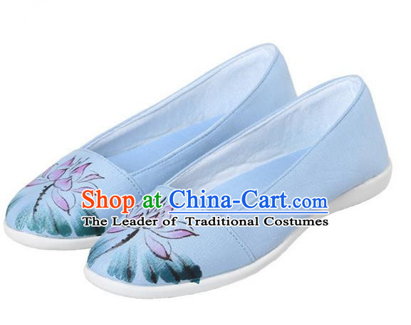 Top Chinese Traditional Tai Chi Hand Painting Lotus Linen Shoes Kung Fu Pulian Shoes Martial Arts Blue Shoes for Women
