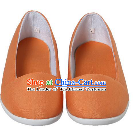 Top Chinese Traditional Tai Chi Linen Shoes Kung Fu Pulian Shoes Martial Arts Orange Shoes for Women