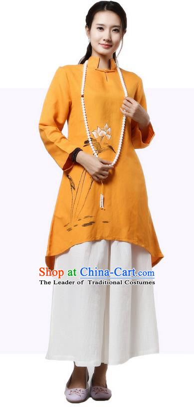Top Chinese Traditional Costume Tang Suit Linen Painting Lotus Qipao Dress, Pulian Clothing China Republic of China Cheongsam Upper Outer Garment Yellow Dress for Women