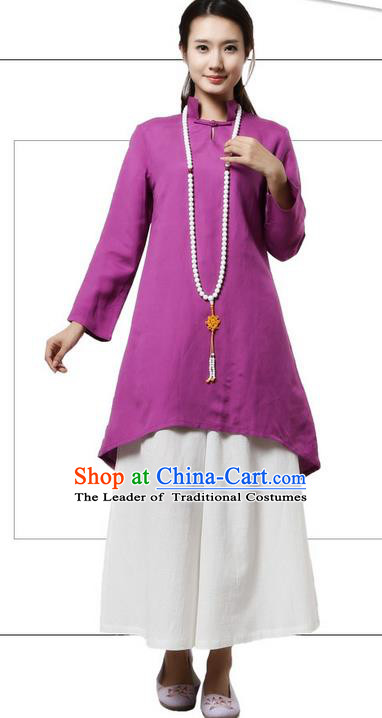 Top Chinese Traditional Costume Tang Suit Linen Qipao Dress, Pulian Clothing China Republic of China Cheongsam Upper Outer Garment Purple Dress for Women