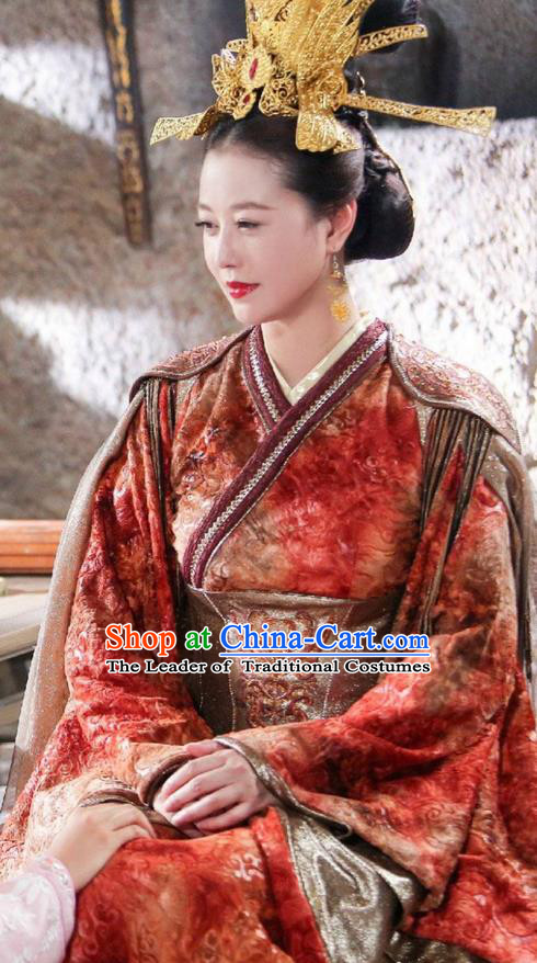 Traditional Chinese Ancient Queen Phoenix Costume and Headpiece Complete Set, Xuan-Yuan Sword Legend: The Clouds of Han the Three Kingdoms Imperial Empress Hanfu Clothing for Women