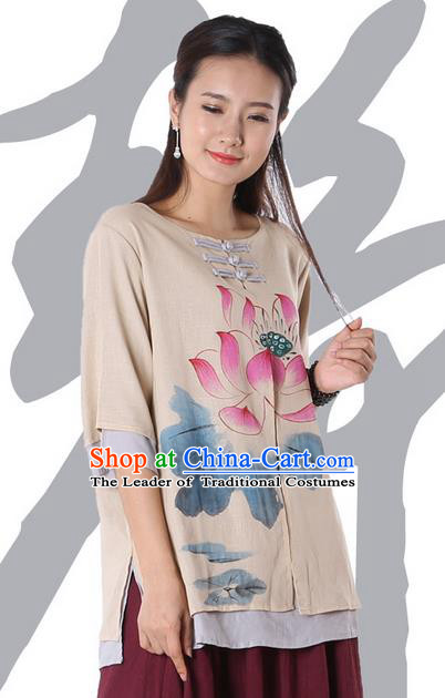 Top Chinese Traditional Costume Tang Suit Double-deck Khaki Painting Lotus Blouse, Pulian Zen Clothing China Cheongsam Upper Outer Garment Plated Buttons Shirts for Women