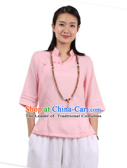 Top Chinese Traditional Costume Tang Suit Pink Painting Lotus Blouse, Pulian Zen Clothing China Cheongsam Upper Outer Garment Slant Opening Shirts for Women