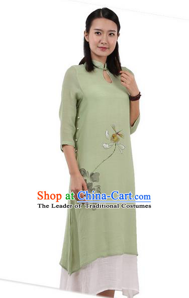 Top Chinese Traditional Costume Tang Suit Linen Double-deck Qipao Dress, Pulian Zen Clothing Republic of China Cheongsam Upper Outer Garment Painting Lotus Green Dress for Women