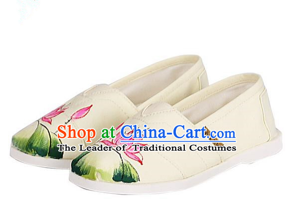 Top Chinese Traditional Linen Shoes, Pulian Shoes China Painting Lotus Cloth Shoe for Women
