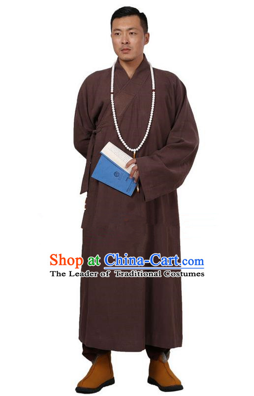 Traditional Chinese Kung Fu Costume Martial Arts Linen Coffee Monk Robes Pulian Meditation Clothing, China Tang Suit Shaolin Wushu Frock for Men