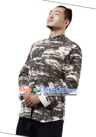 Traditional Chinese Kung Fu Costume Martial Arts Tang Suit Shirts Pulian Meditation Clothing, China Tai Chi Plated Buttons Coffee Overshirts for Men