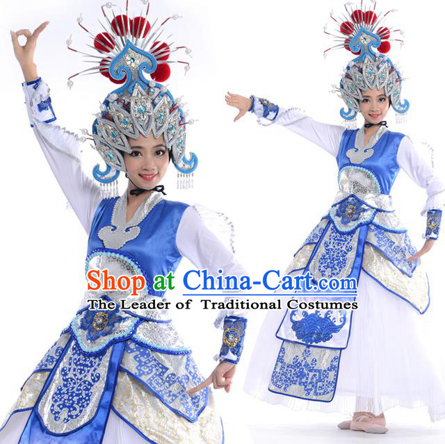 Traditional Chinese Classical Peking Opera Dance Costume, Folk Dance Drum Dance Uniform Costume and Hat Complete Set for Women