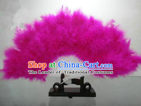 Traditional Chinese Folk Dance Fan, Chinese Classical Dance Pink Feather Fans for Women