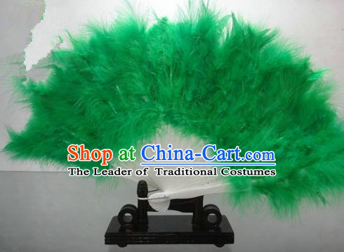 Traditional Chinese Folk Dance Fan, Chinese Classical Dance Green Feather Fans for Women