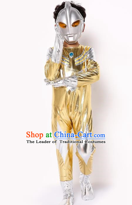Chinese Modern Dance Costume, Children Cosplay Ultraman Uniforms, Halloween Party Golden Suit for Boys Kids