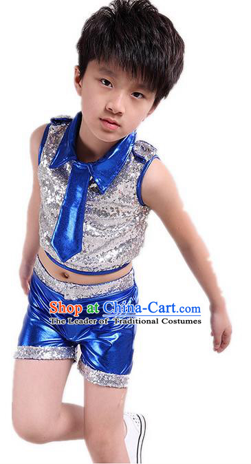 Chinese Modern Dance Costume, Children Opening Classic Chorus Uniforms, Jazz Dance Blue Paillette Suit for Boys Kids