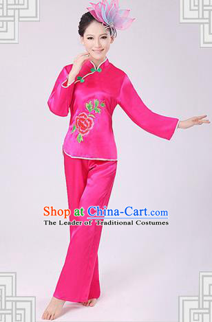 Traditional Chinese Yangge Fan Dancing Costume, Folk Dance Yangko Costume Drum Dance Pink Clothing for Women