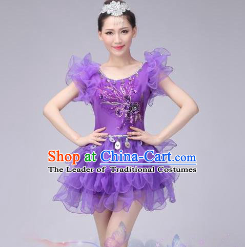 eb0c045f77ca Traditional Chinese Modern Dance Costume, Women Opening Dance Chorus Group  Uniforms Short Purple Bubble Dress for Women
