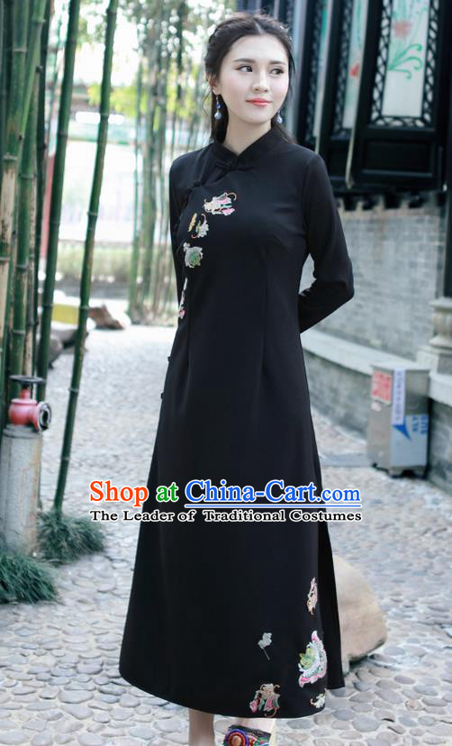 Traditional Ancient Chinese National Costume, Elegant Hanfu Mandarin Qipao Linen Hand Embroidery Black Dress, China Tang Suit Chirpaur Republic of China Stand Collar Cheongsam Upper Outer Garment Elegant Dress Clothing for Women