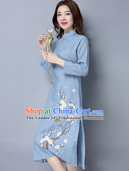 Traditional Ancient Chinese National Costume, Elegant Hanfu Mandarin Qipao Linen Painting Wintersweet Blue Dress, China Tang Suit Stand Collar Chirpaur Republic of China Cheongsam Upper Outer Garment Elegant Dress Clothing for Women