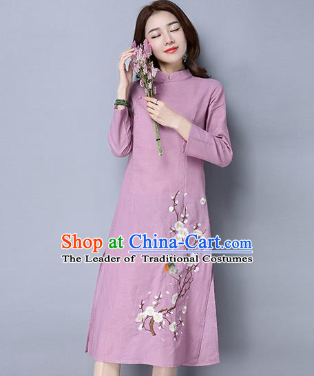 Traditional Ancient Chinese National Costume, Elegant Hanfu Mandarin Qipao Linen Painting Wintersweet Pink Dress, China Tang Suit Stand Collar Chirpaur Republic of China Cheongsam Upper Outer Garment Elegant Dress Clothing for Women