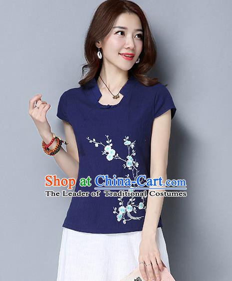 Traditional Chinese National Costume, Elegant Hanfu Embroidered Wintersweet Slant Opening Navy T-Shirt, China Tang Suit Republic of China Plated Buttons Chirpaur Blouse Cheong-sam Upper Outer Garment Qipao Shirts Clothing for Women