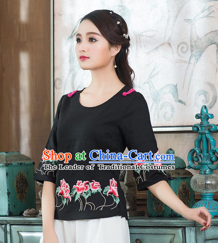 Traditional Chinese National Costume, Elegant Hanfu Embroidery Flowers Round Collar Black T-Shirt, China Tang Suit Republic of China Plated Buttons Chirpaur Blouse Cheong-sam Upper Outer Garment Qipao Shirts Clothing for Women