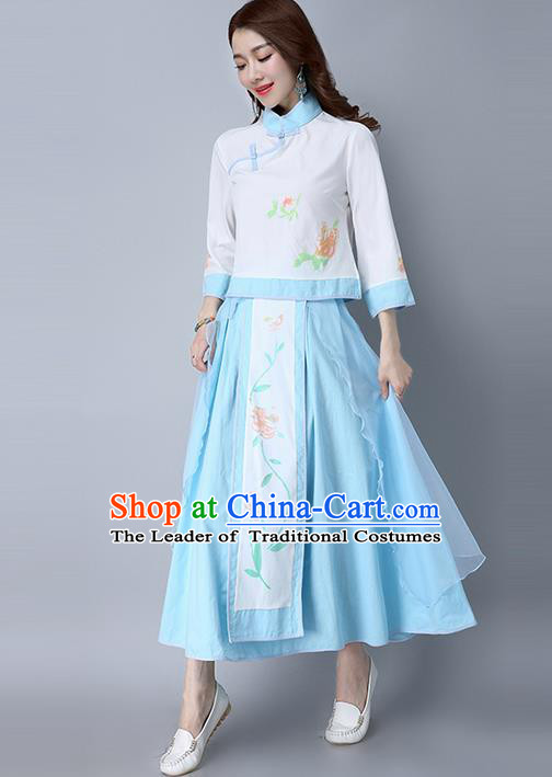 Traditional Chinese National Costume, Elegant Hanfu Printing Flowers Slant Opening Shirt and Skirt Complete Set, China Tang Suit Republic of China Plated Buttons Chirpaur Blouse Cheong-sam Upper Outer Garment Qipao Shirts and Dress for Women