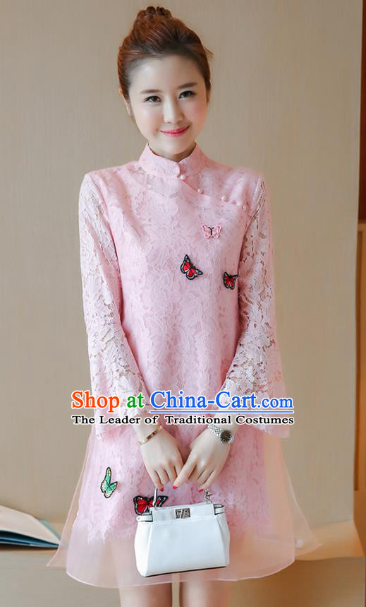 Traditional Ancient Chinese National Costume, Elegant Hanfu Mandarin Qipao Embroidered Butterflies Pink Lace Dress, China Tang Suit Chirpaur Republic of China Cheongsam Upper Outer Garment Elegant Dress Clothing for Women