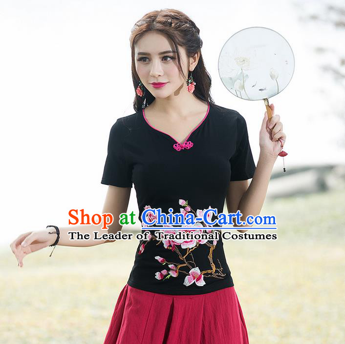Traditional Chinese National Costume, Elegant Hanfu Embroidery Flowers Black T-Shirt, China Tang Suit Republic of China Plated Buttons Chirpaur Blouse Cheong-sam Upper Outer Garment Qipao Shirts Clothing for Women