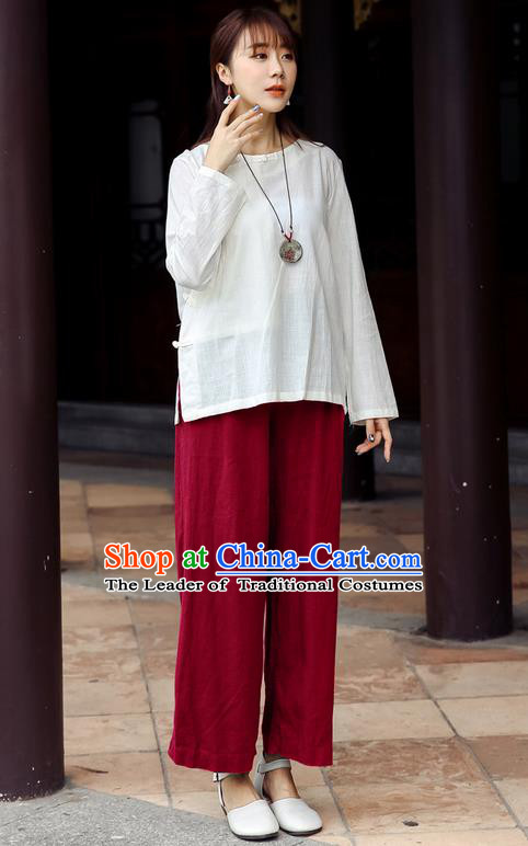 Traditional Chinese National Costume Loose Pants, Elegant Hanfu Linen Red Wide leg Pants, China Ethnic Minorities Tang Suit Folk Dance Ultra-wide-leg Trousers for Women