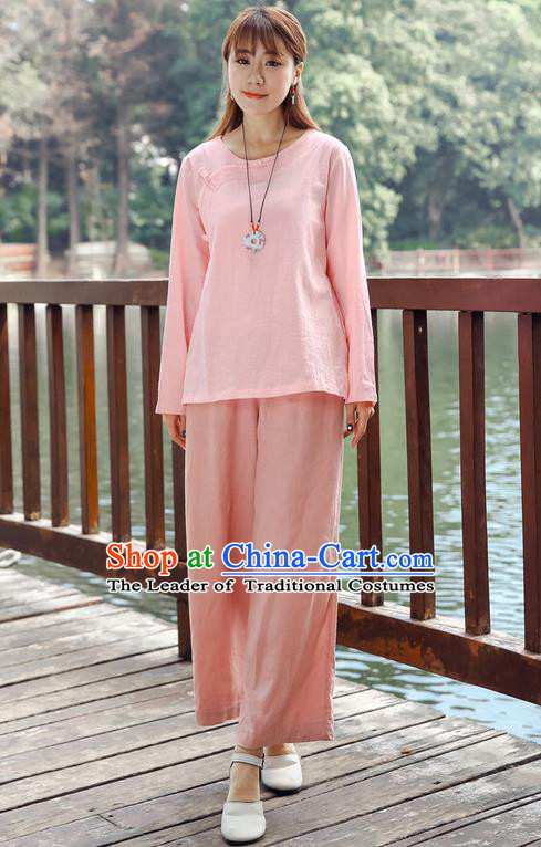 Traditional Chinese National Costume Loose Pants, Elegant Hanfu Linen Pink Wide leg Pants, China Ethnic Minorities Tang Suit Folk Dance Ultra-wide-leg Trousers for Women