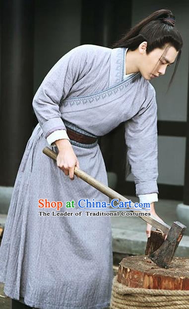 Traditional Ancient Chinese Elegant Swordsman Costume, Chinese Jiang hu Knight-errant Dress, Cosplay Chinese Television Drama Jade Dynasty Qing Yun Faction Woodcutter Hanfu Embroidery Clothing for Men