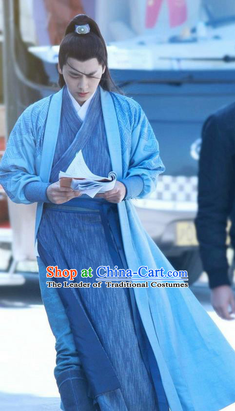 Traditional Ancient Chinese Elegant Swordsman Costume, Chinese Jiang hu Knight-errant Dress, Cosplay Chinese Television Drama Jade Dynasty Qing Yun Faction Taoist Priest Disciple Hanfu Clothing for Men