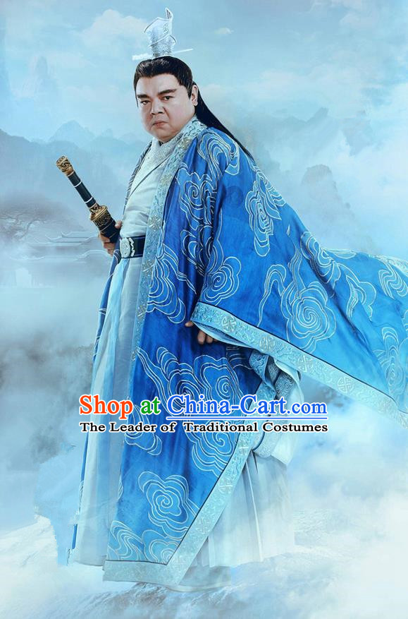 Traditional Ancient Chinese Elegant Swordsman Costume, Chinese Jiang hu Taoist Priest Villagemaster Dress, Cosplay Chinese Television Drama Jade Dynasty Qing Yun Faction Elders of the Owners Hanfu Embroidery Clothing for Men