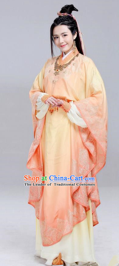Traditional Ancient Chinese Elegant Aristocratic Female Costume, Chinese Ancient Palace Young Lady Dress, Cosplay Chinese Television Drama Jade Dynasty Qing Yun Faction Princess Peri Hanfu Trailing Embroidery Clothing for Women