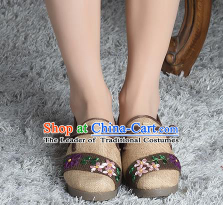 Traditional Chinese Shoes, China Handmade Linen Embroidered Wheat Shoes, Ancient Princess Cloth Shoes for Women