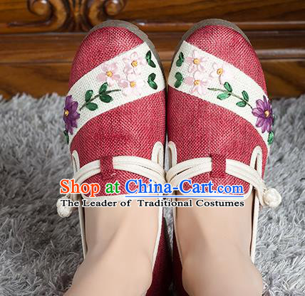 Traditional Chinese Shoes, China Handmade Linen Embroidered Red Shoes, Ancient Princess Cloth Shoes for Women