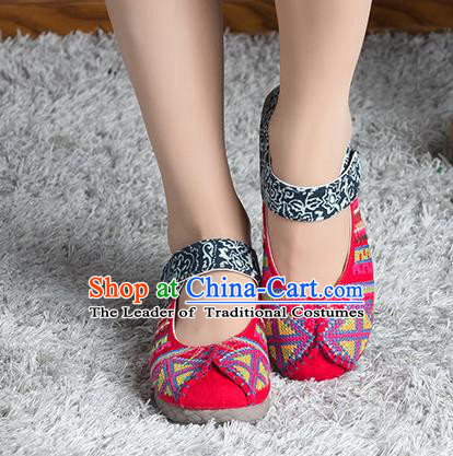 Traditional Chinese Shoes, China Handmade Linen Embroidered Red Shoes, China Ancient Cloth Shoes for Women
