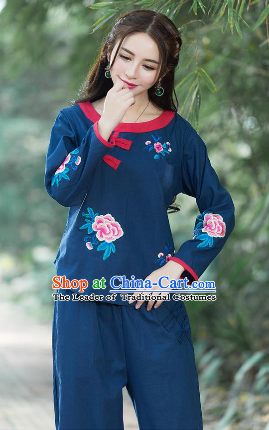 Traditional Chinese National Costume, Elegant Hanfu Linen Embroidery Flowers Round Collar Navy T-Shirt, China Tang Suit Republic of China Plated Buttons Chirpaur Blouse Cheong-sam Upper Outer Garment Qipao Shirts Clothing for Women