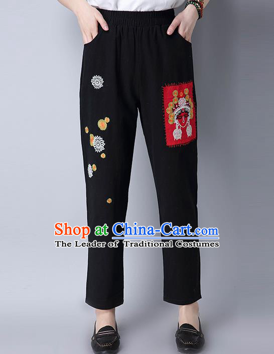 Traditional Chinese National Costume Loose Pants, Elegant Hanfu Embroidered Beijing Opera Facial Masks Black Wide leg Pants, China Ethnic Minorities Tang Suit Ultra-wide-leg Trousers for Women