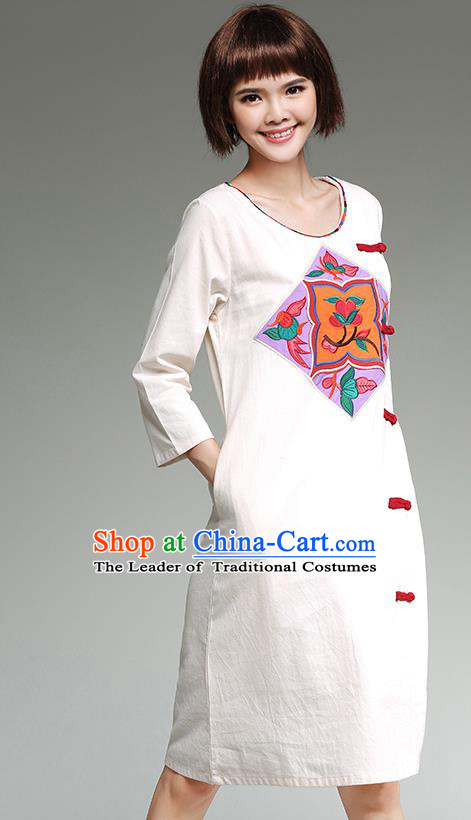 Traditional Ancient Chinese National Costume, Elegant Hanfu Qipao Linen Patch Embroidery White Dress, China Tang Suit Cheongsam Upper Outer Garment Elegant Dress Clothing for Women